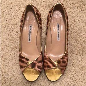 Manolo Blahnik Leopard Peep toe heels